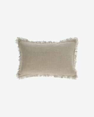Funda cojín Ailen algodón y lino flecos beige 30 x 50 cm