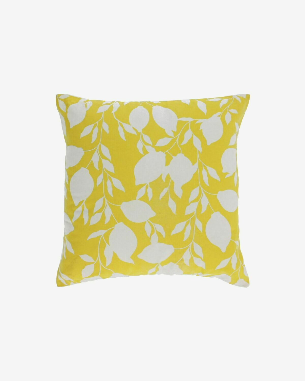 Funda cojín Etel 100% algodón limones blanco y amarillo 45 x 45 cm