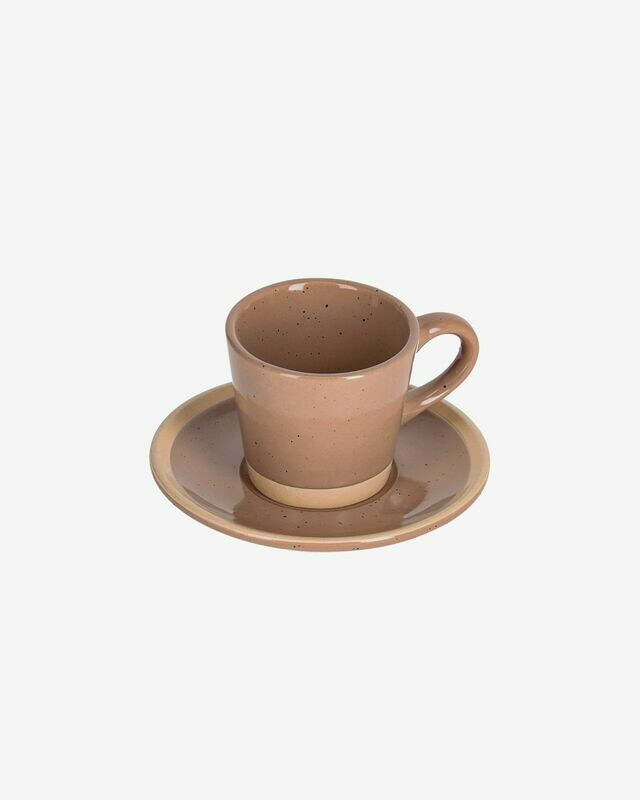 Taza de café con plato Tilia cerámica color marrón claro
