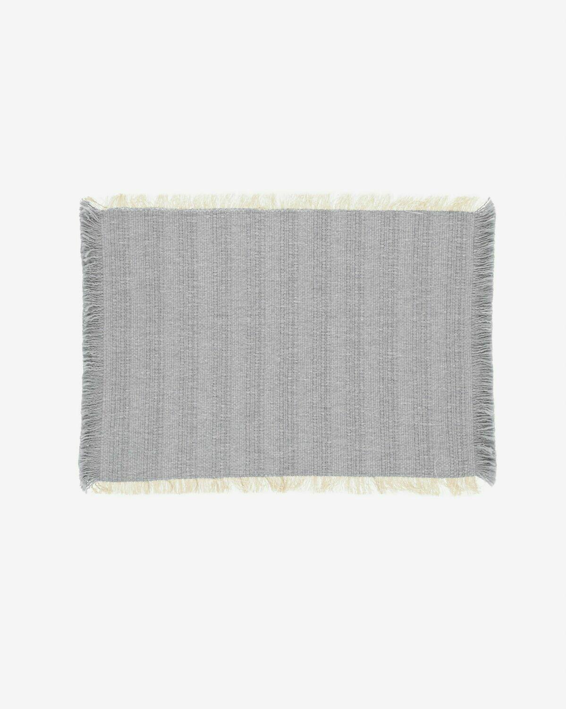 Set Aicha de 2 individuales 100% algodón flecos beige y azul 35 x 50 cm
