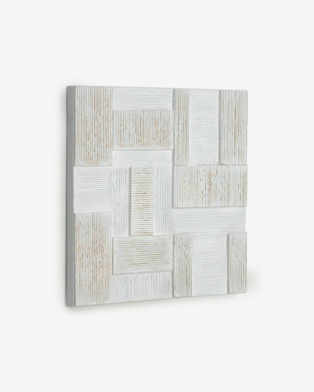Cuadro Alvida con rectángulos blanco y dorado 50 x 50 cm