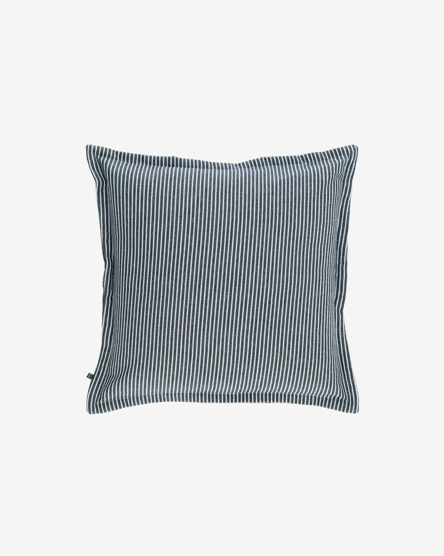 Funda cojín Aleria algodón rayas blanco y azul 45 x 45 cm