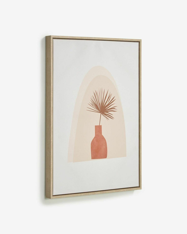 Cuadro Izem jarrón con flor marrón 50 x 70 cm