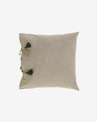 Funda cojín Varina 100% algodón marrón 45 x 45 cm