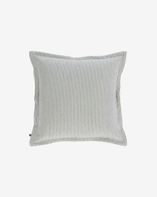 Funda cojín Aleria algodón rayas gris y blanco 45 x 45 cm