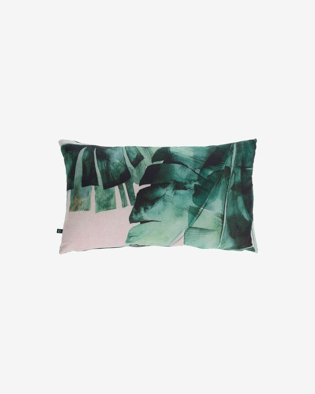 Funda cojín Hermie  hojas verde 30 x 50 cm