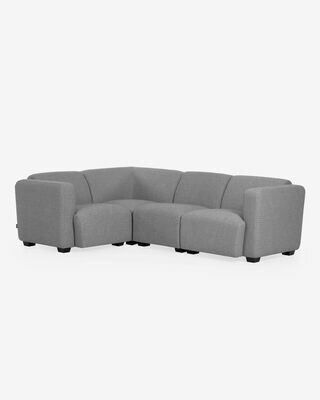 Sofá rinconero Legara 4 plazas gris claro 226 x 164 cm