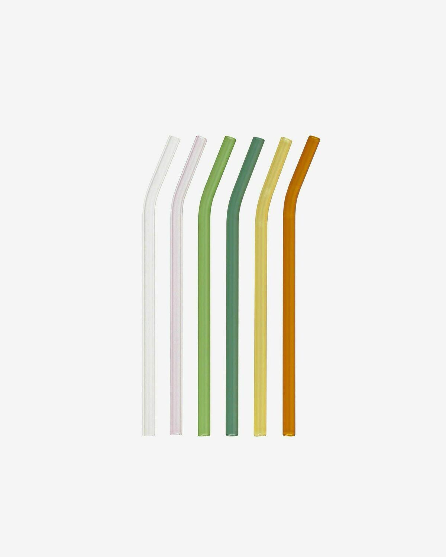 Set Gillia de 6 pajitas vidrio multicolor