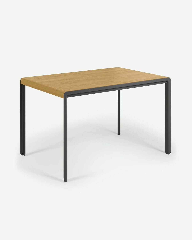 Mesa extensible Nadyria chapa de roble patas de acero acabado negro 120 (160) x 80 cm
