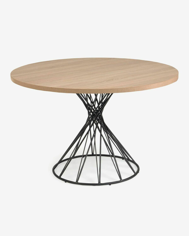 Mesa redonda Niut de melamina acabado natural patas de acero acabado negro Ø 120 cm