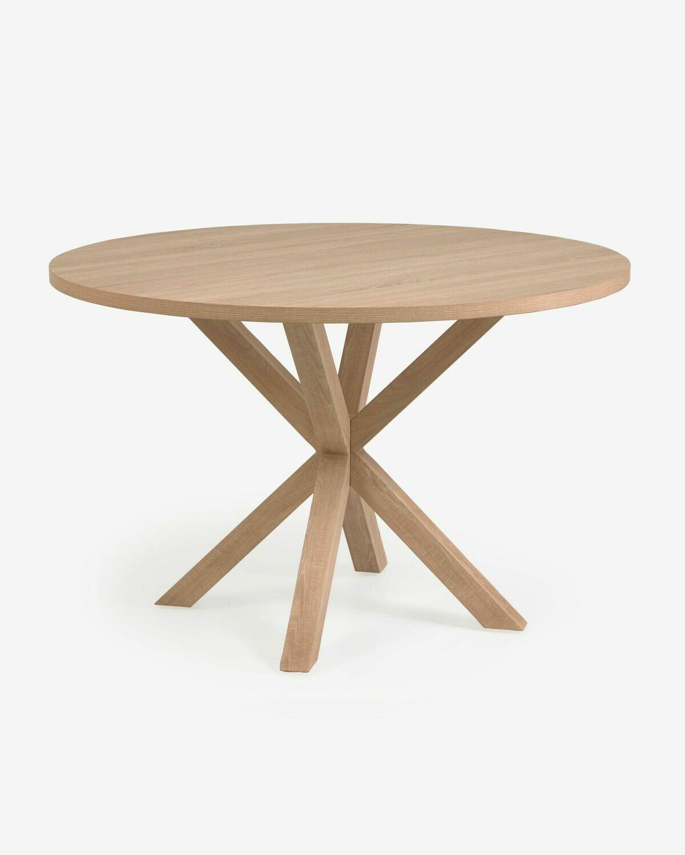 Mesa redonda Full Argo de melamina acabado natural patas de acero efecto madera Ø 119 cm