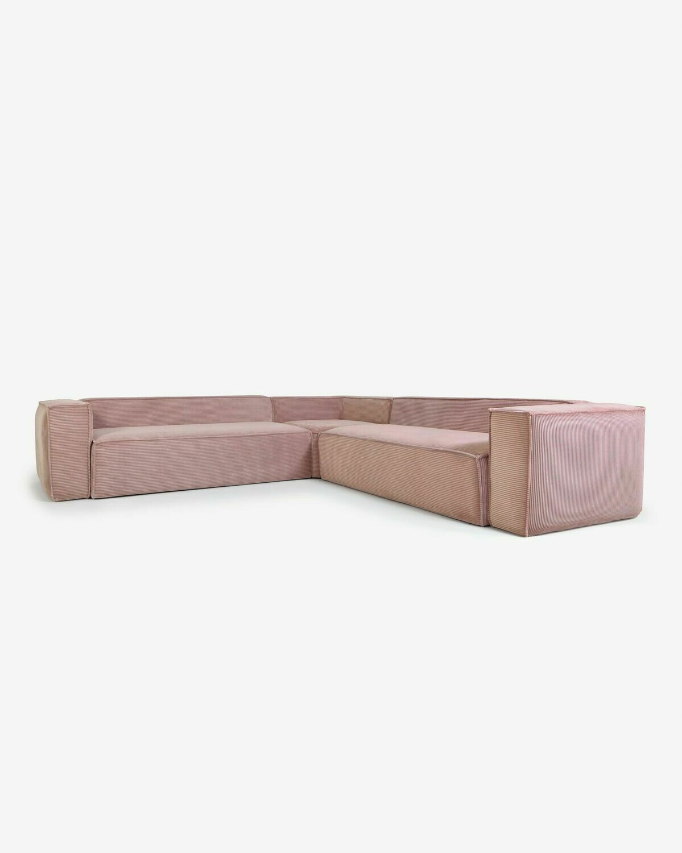 Sofá rinconero Blok 6 plazas pana rosa 320 x 320 cm