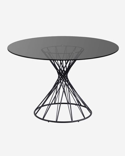 Mesa redonda Niut de cristal patas de acero acabado negro Ø 120 cm