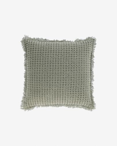 Funda cojín Shallow 100% algodón verde 45 x 45 cm