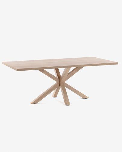 Mesa Argo 180 x 100 cm melamina acabado natural patas de acero efecto madera