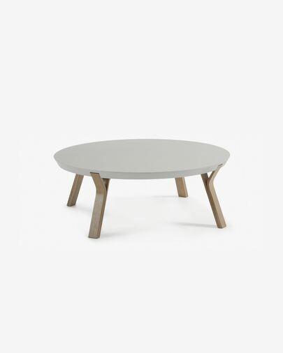 Mesa de centro Dilos madera maciza de roble con pátina gris y lacado gris Ø 90 cm