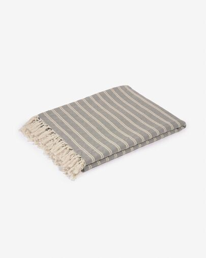 Manta Sweeney 100% algodón rayas blanco y gris 170 x 130 cm