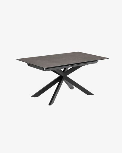 Mesa extensible Atminda 160 (210) x 90 cm porcelánico patas acero acabado negro