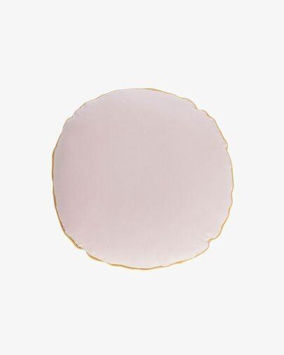 Funda cojín redondo Fresia 100% algodón rosa Ø 45 cm