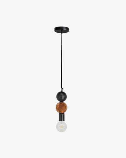 Lámpara de techo Jellis con círculo de madera maciza de mango