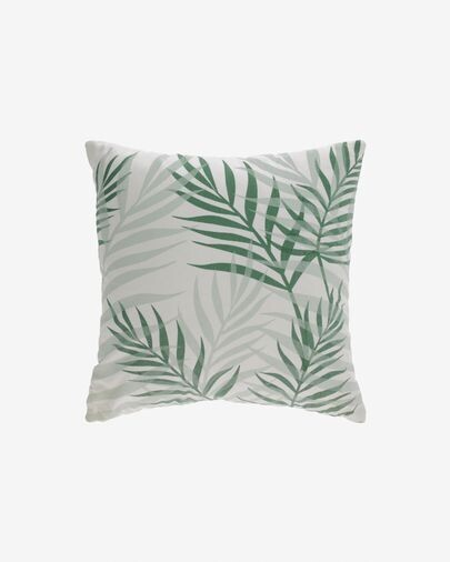 Funda cojín Amorela 100% algodón hojas verde 45 x 45 cm