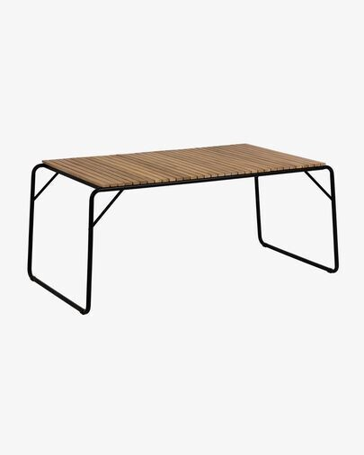 Mesa Yukari madera maciza acacia efecto teca patas acero negro 165 x 90 cm FSC 100%