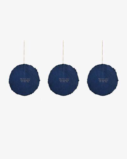 Set Astrea de 3 adornos colgantes decorativos azul