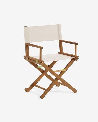 Silla plegable de exterior Dalisa beige y madera maciza acacia FSC 100%