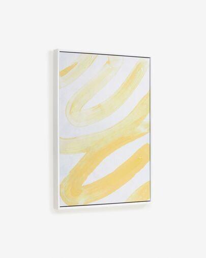 Cuadro Lien con líneas amarillo y blanco 50 x 70 cm