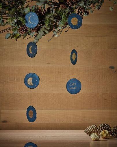 Set Astrea de 2 adornos colgantes decorativos fases luna azul y dorado