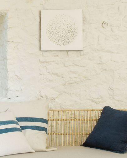 Lienzo Adys con círculo y puntos blanco 40 x 40 cm