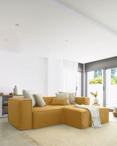 Sofá desenfundable Blok de 2 plazas chaise longue derecho con lino mostaza 240 cm