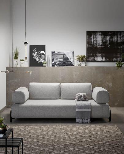Sofá Compo 3 plazas gris claro 232 cm