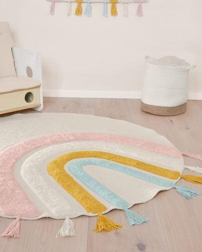 Alfombra redonda Thaide algodón arcoíris multicolor Ø 100 cm