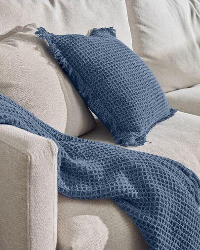 Funda de cojín Shallow 100% algodón azul de 45 x 45 cm