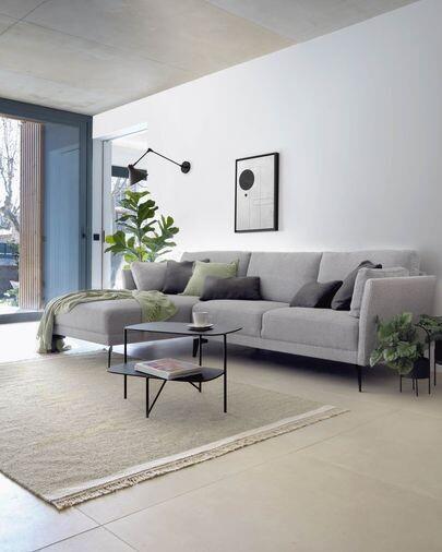 Sofá Gilma 3 plazas con chaise longue izquierdo gris patas metal negro 260 cm