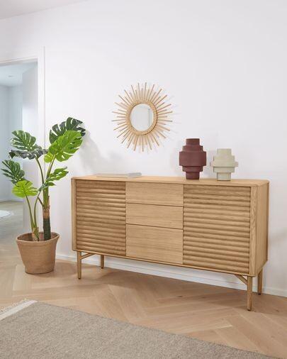 Aparador Lenon 155 x 86 cm de madera maciza y chapa de roble FSC MIX Credit