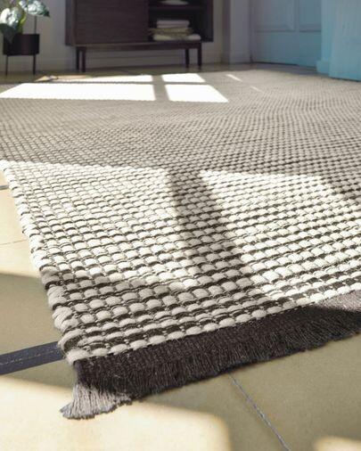 Alfombra Grendha de algodón y lana blanco y negro 160 x 230 cm