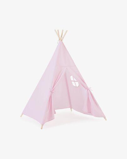 Tipi Darlyn 100% algodón rosa y patas de madera maciza de pino