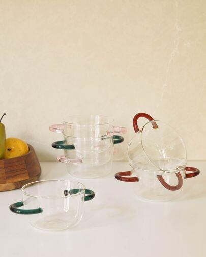Bol Dusnela vidrio transparente y naranja