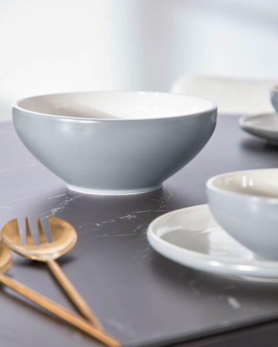 Bol Sadashi grande de porcelana blanco y gris