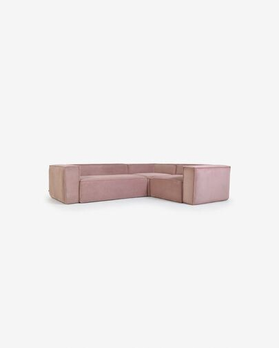 Sofá rinconero Blok 3 plazas pana rosa 290 x 230 cm