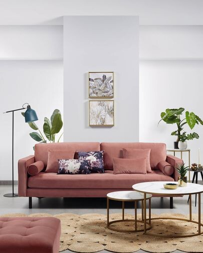 Sofá Debra 2 plazas terciopelo rosa 182 cm