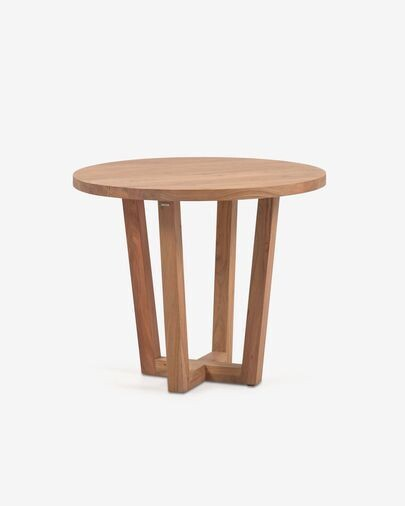 Mesa redonda Nahla de madera maciza de acacia con acabado natural Ø 90 cm