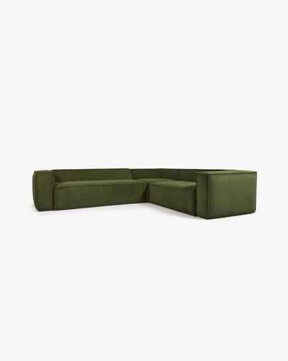 Sofá rinconero Blok 5 plazas pana gruesa verde 320 x 290 cm