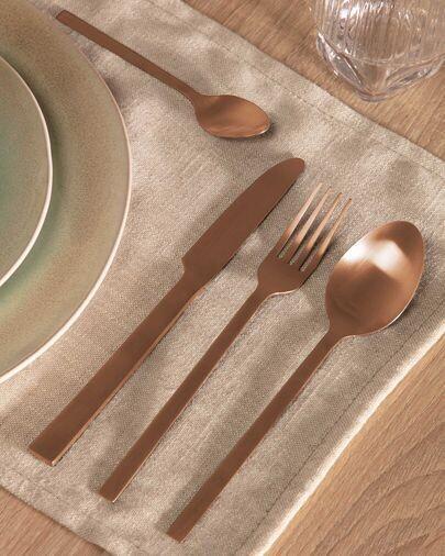 Set Kelda de 16 cubiertos cobre