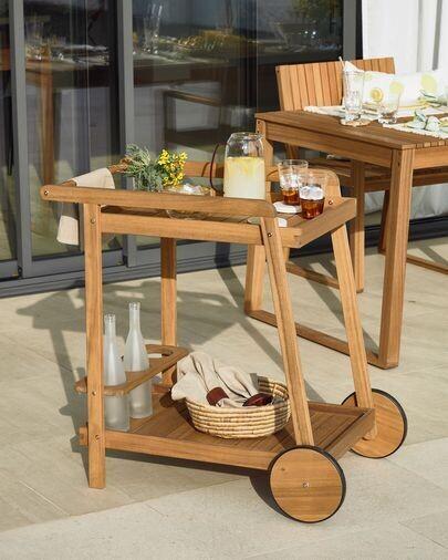 Mesa camarera de exterior Felisa madera maciza acacia 55 x 73 cm FSC 100%