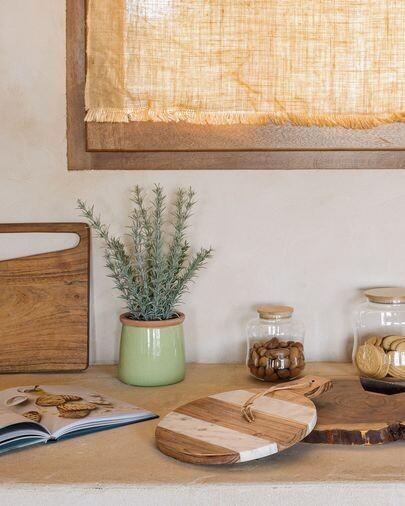 Tabla de servir redonda Tresa madera maciza mango y mármol blanco