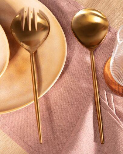 Set Lite de 2 cubiertos para ensalada dorado