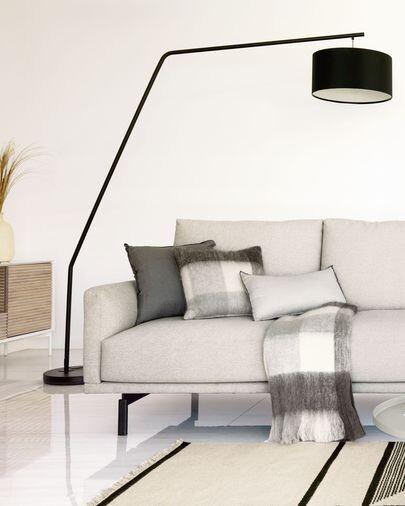 Lámpara de pie Ciana de metal con acabado negro y pantalla de algodón